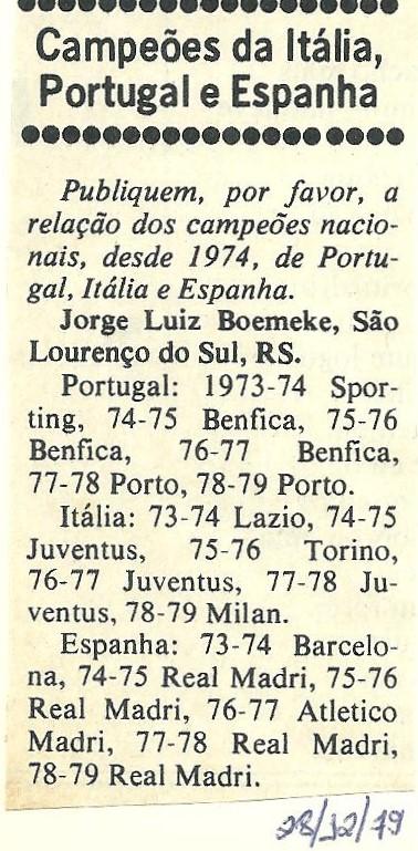 You are currently viewing Campeões da Itália, Espanha e Portugal