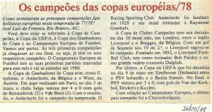 Read more about the article Os campeões da Copa Europeia