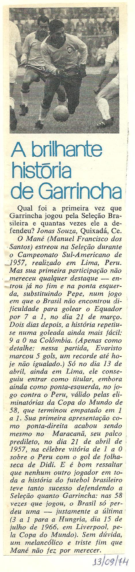 You are currently viewing Seleção Brasileira. A brilhante história de Garrincha