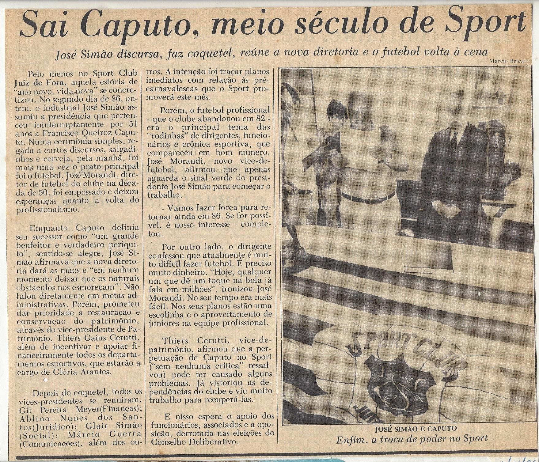 You are currently viewing Sai Caputo, meio século de Sport